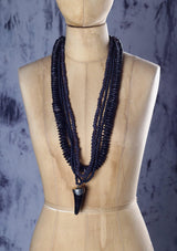 Thick Black Necklace with Pearled Tooth - Africancollection