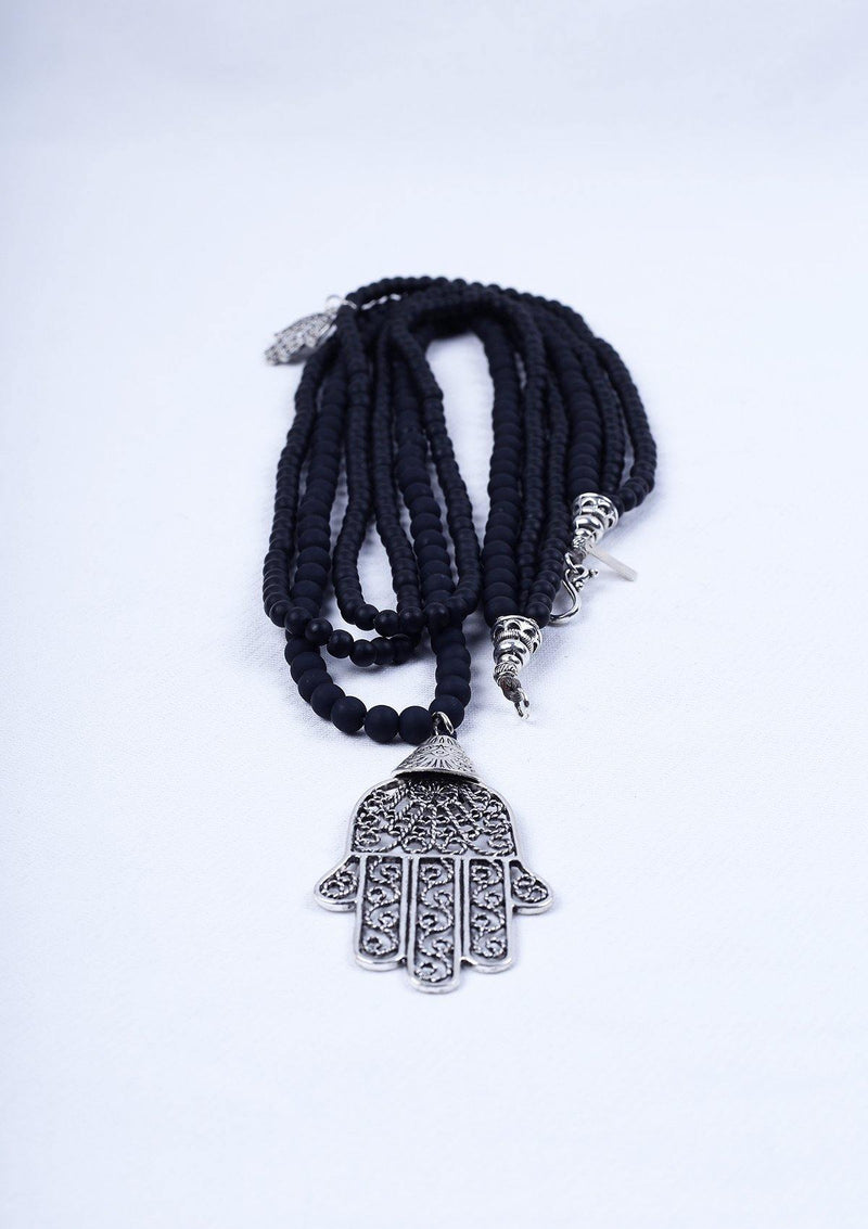 Vintage Women's Jewelry - Berber Long Necklace Hand of Fatima - Africancollection