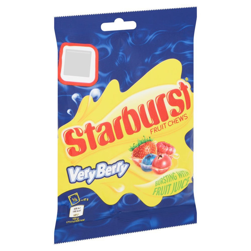 Starburst Very Berry Fruit Chews Sweets Treat Bag 141g