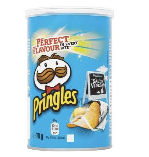 Pringles Pop & Go Salt & Vinegar Crisps 70g
