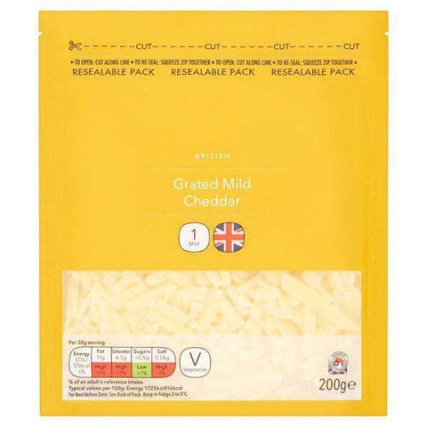 British Grated Mild Cheddar 200G