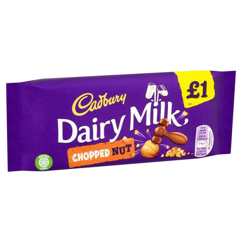 Cadbury Dairy Milk Chopped Nut Chocolate Bar 95g