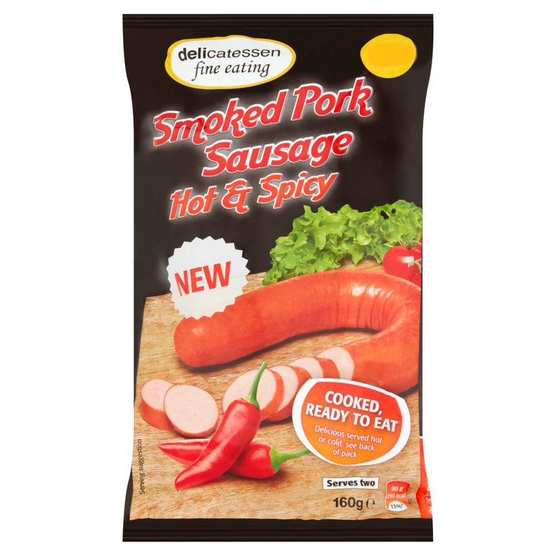 Delicatessen Fine Eating Smoked Pork Sausage Hot & Spicy 160g