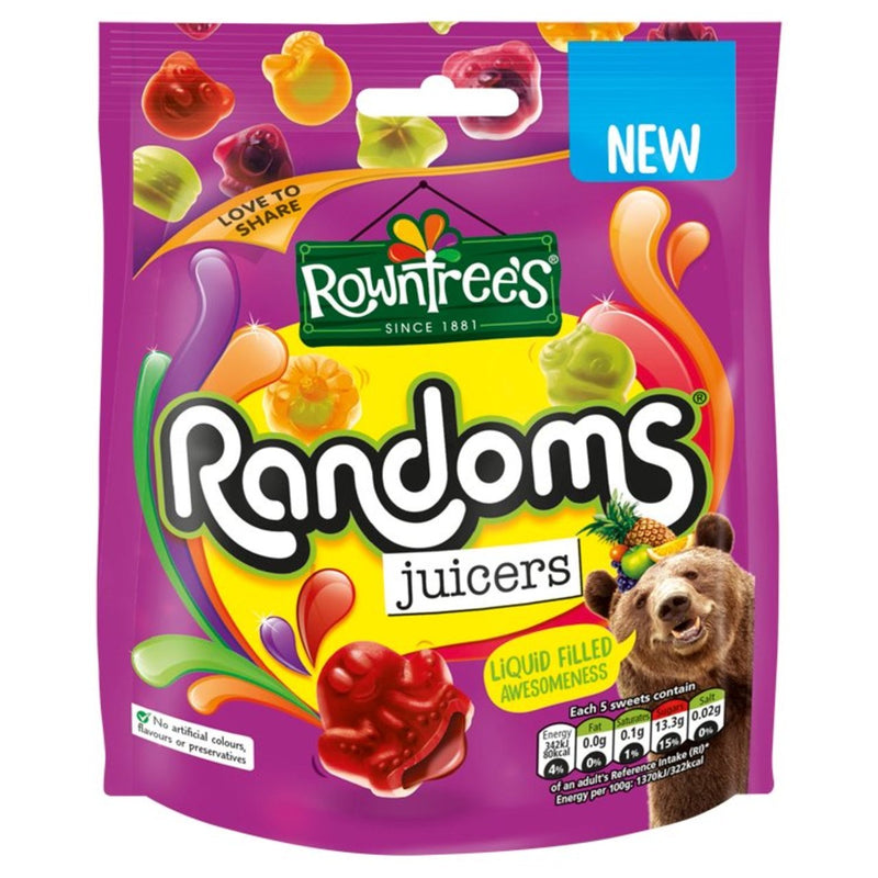 Rowntree's Randoms Juicers Sweets Sharing Pouch Bag 140g