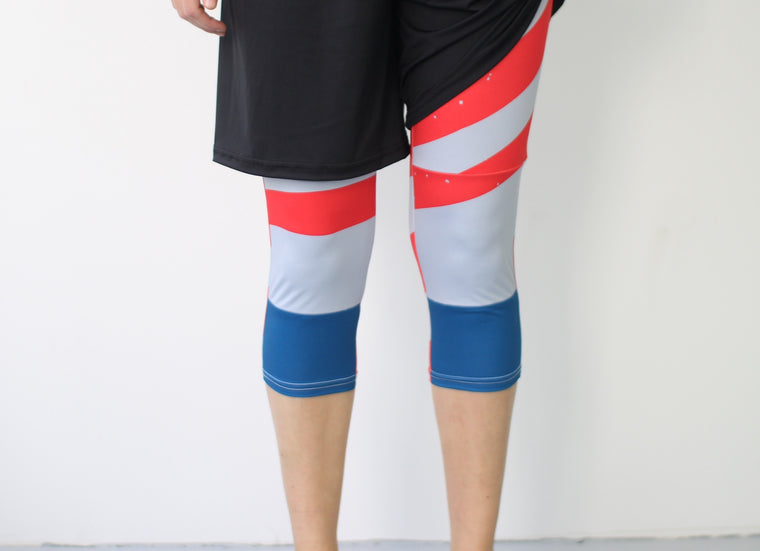Women's Full Sub Leggings | Red Grey & Blue