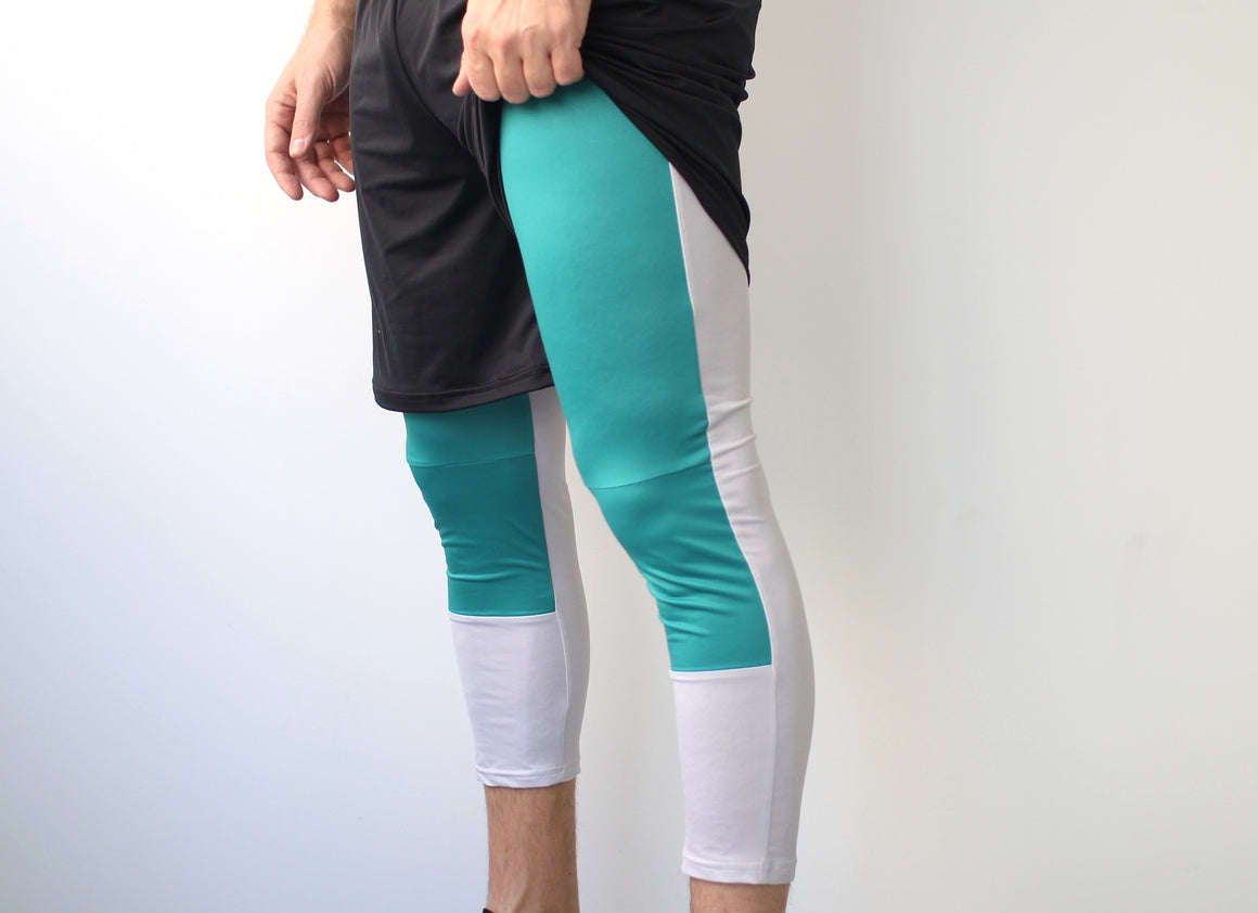 Men's Ultimate Full Sub Leggings | Silver & Green