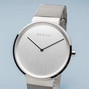 Bering Classic Polished Silver 39mm Milanese Strap