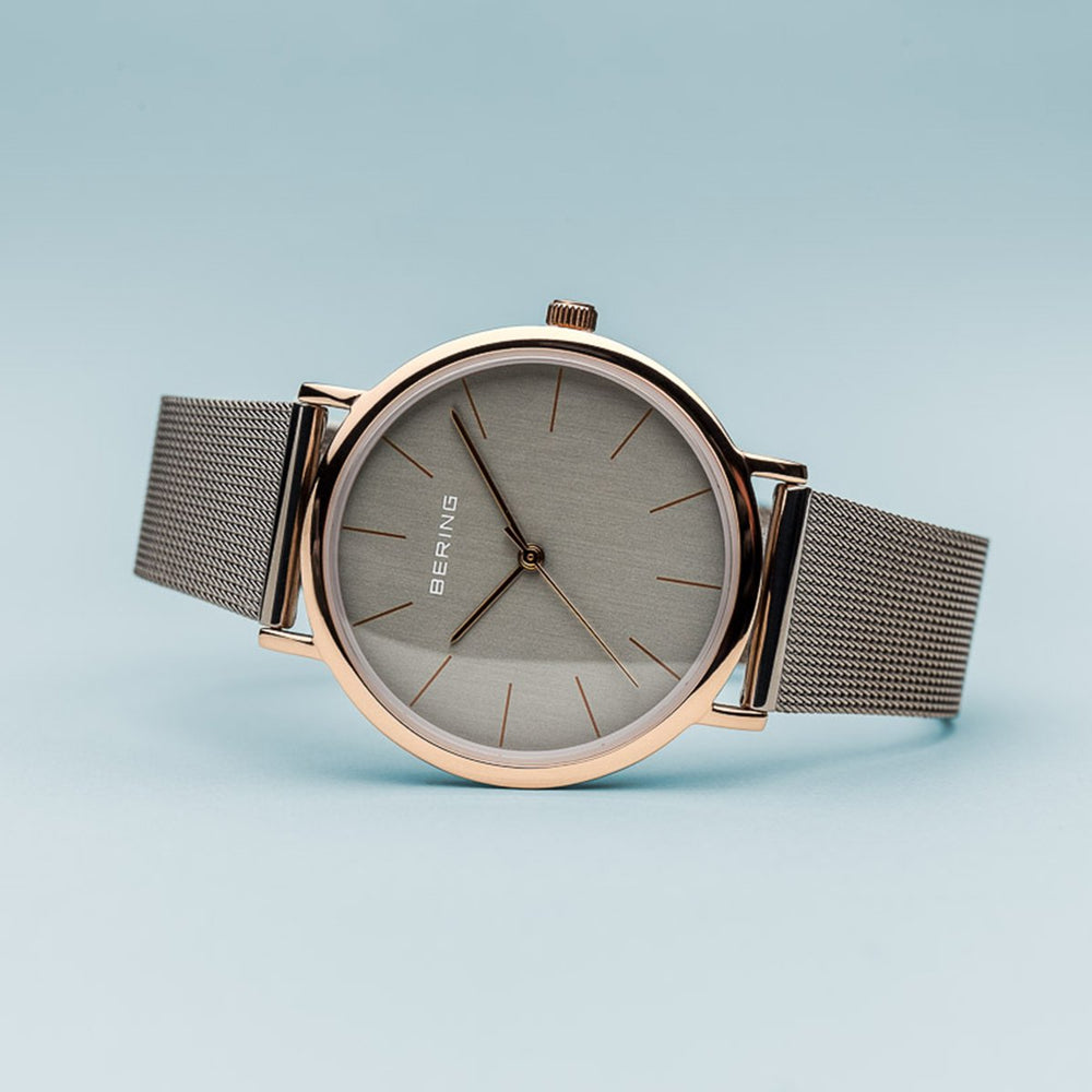 Bering Classic Polished Rose Gold Grey Mesh Watch