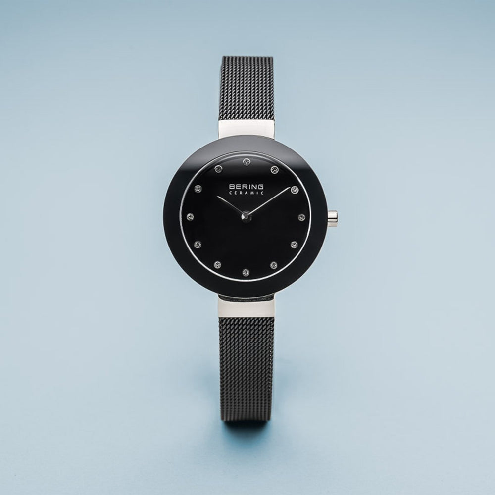Load image into Gallery viewer, Bering Ceramic Polished Silver Slim Black Watch