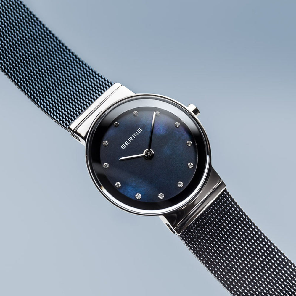 Bering Classic Polished Silver Blue Mesh Watch