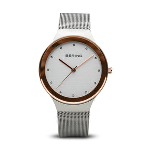 Bering Classic Polished Silver Brown Rim 34mm Watch