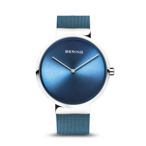 Bering Classic Polished Silver Ice Blue Watch