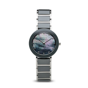 Bering Ceramic Polished Silver Pearl Watch