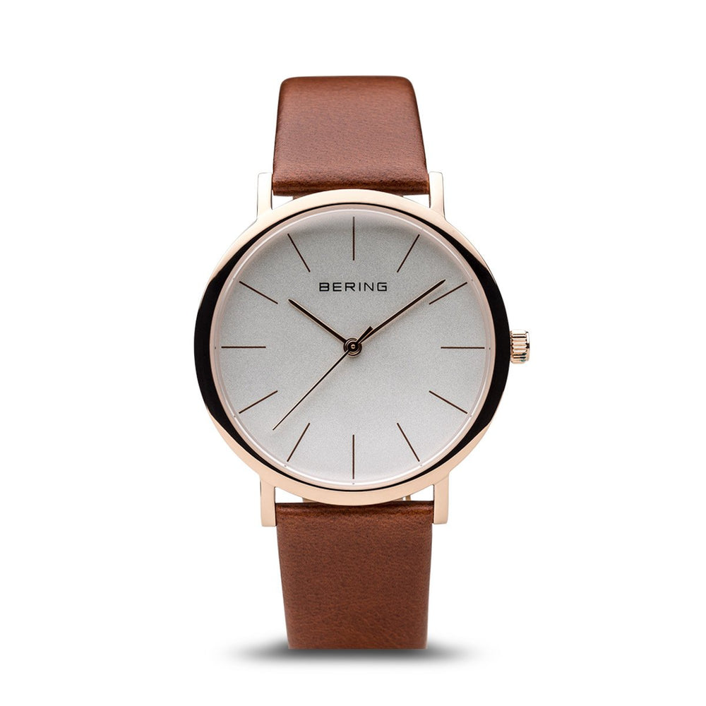 Bering Classic Polished Rose Gold Brown Watch