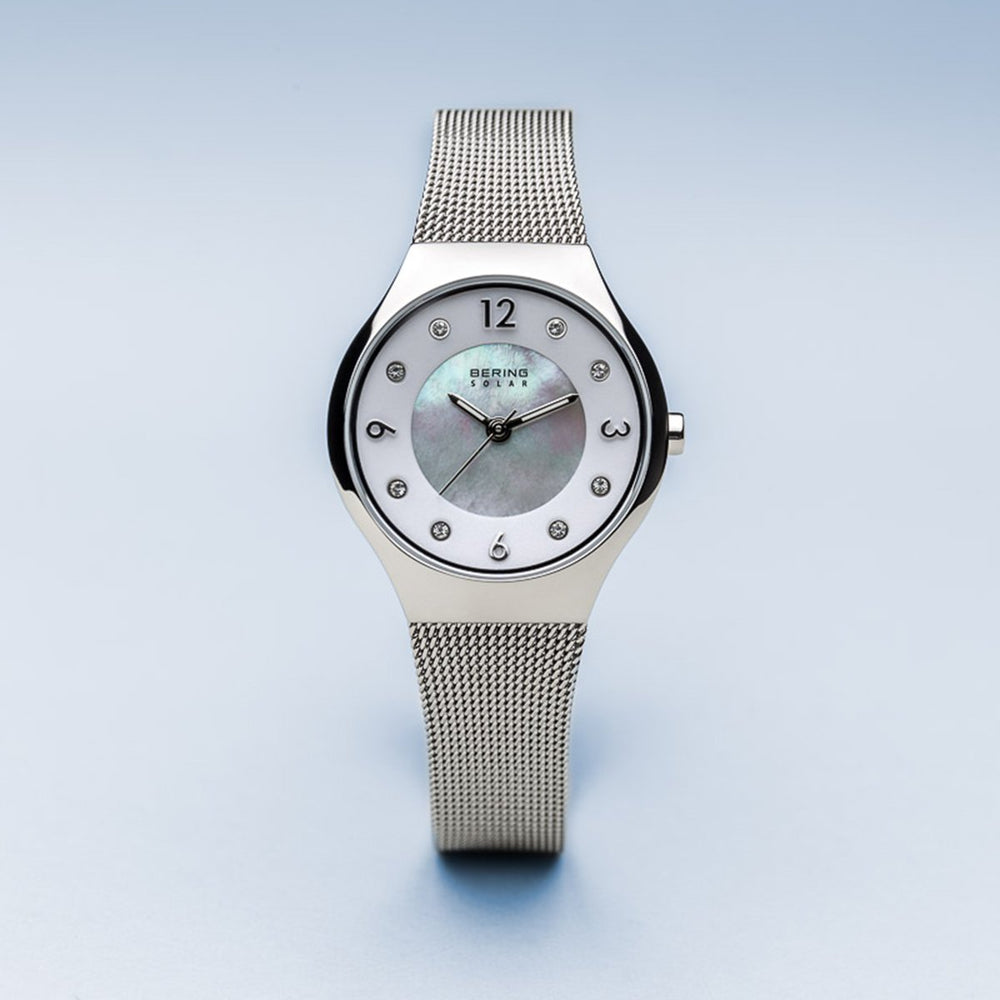 Bering Solar Polished Silver Mesh Watch