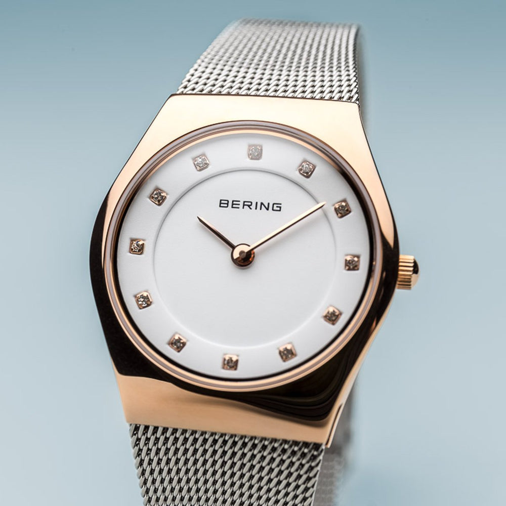 Bering Classic Polished Rose Gold Silver Watch