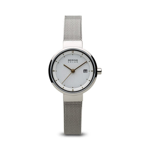 Bering Solar Polished Silver 26mm Watch
