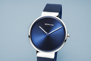 Bering Classic Brushed Silver Blue Mesh Watch