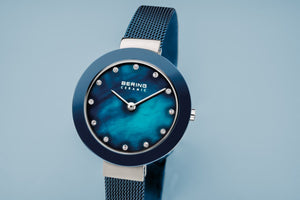 Bering Ceramic Polished Silver Blue Pearl Watch