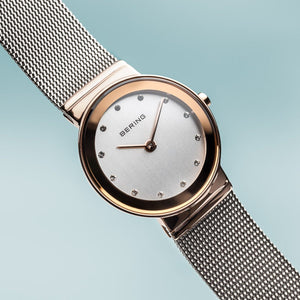 Bering Classic Polished Rose Gold Silver Mesh Watch
