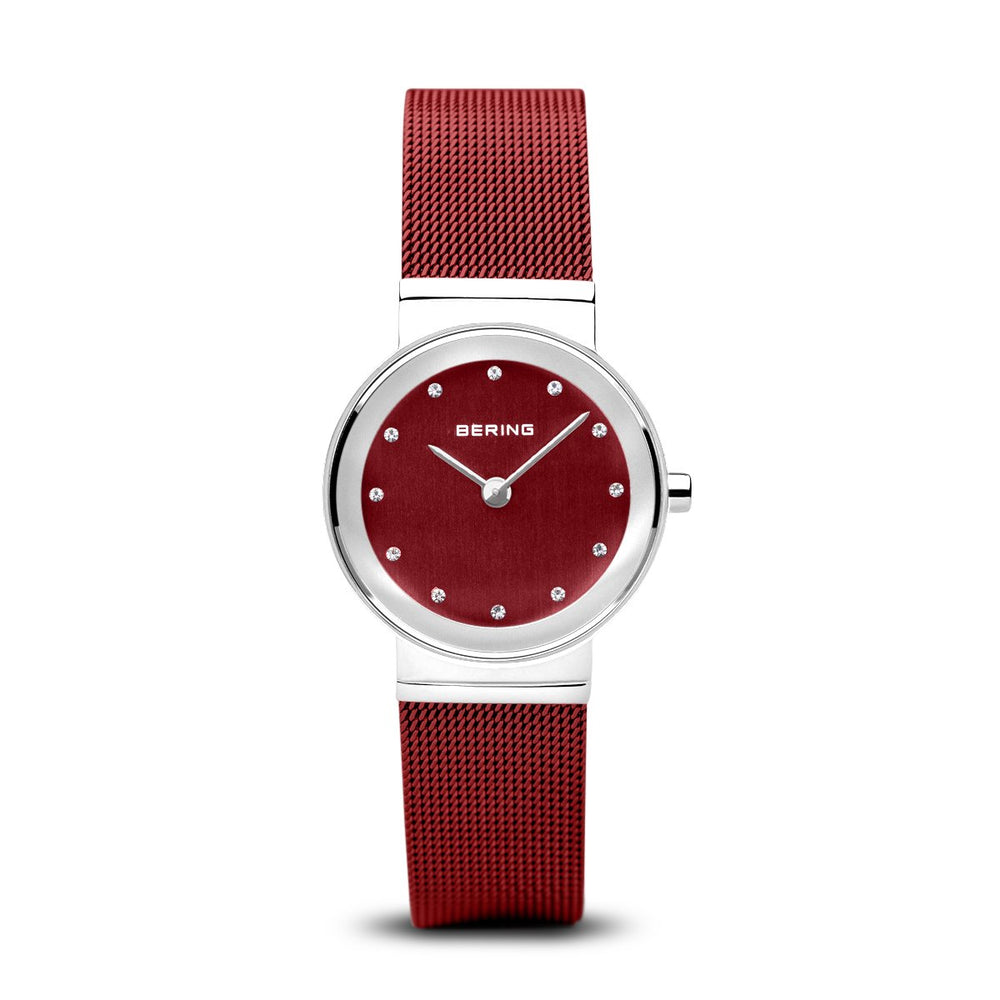 Bering Classic Polished Silver Red Mesh Watch