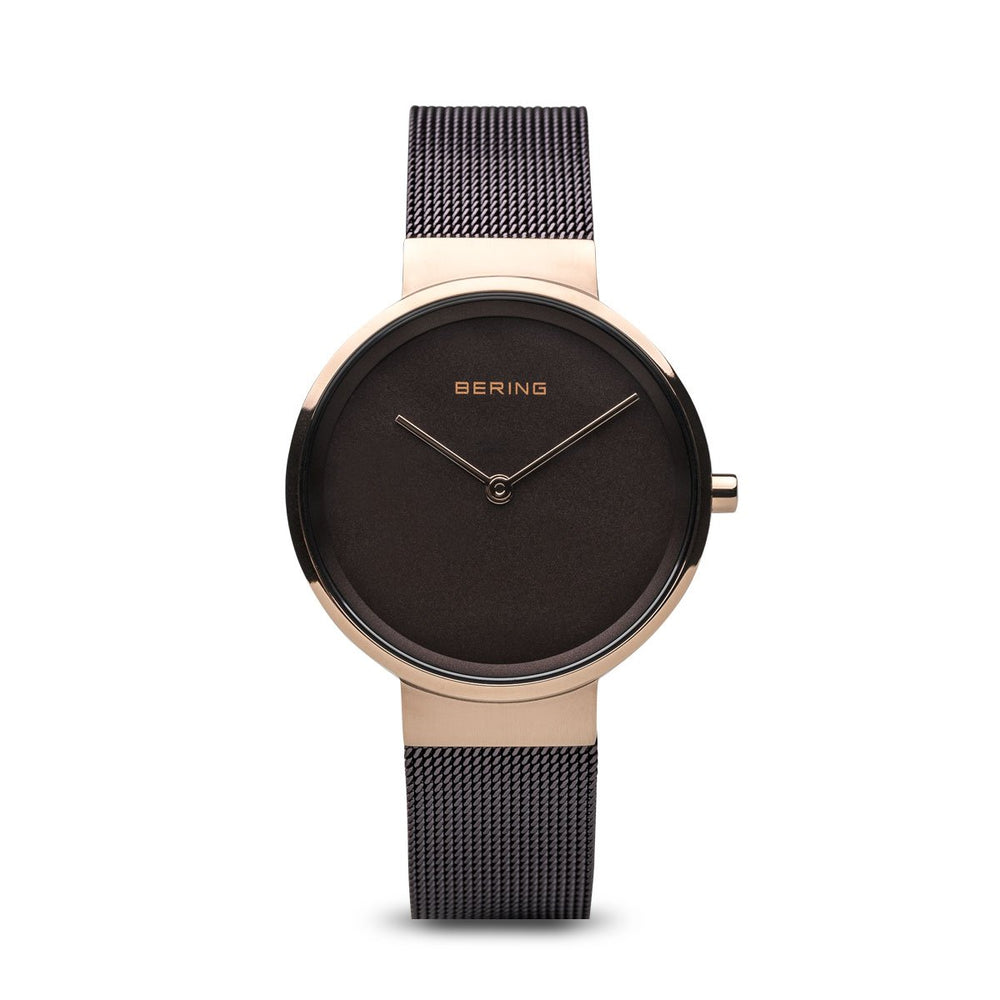 Bering Classic Brushed Rose Gold Black Mesh Watch