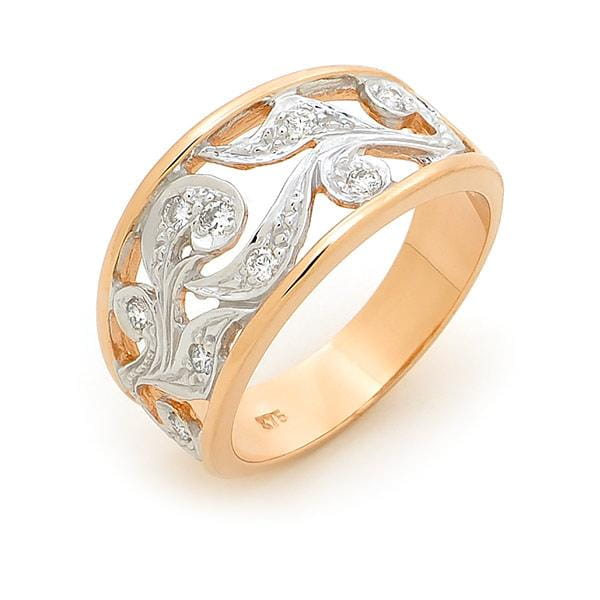 Scroll Motif Diamond Dress Ring