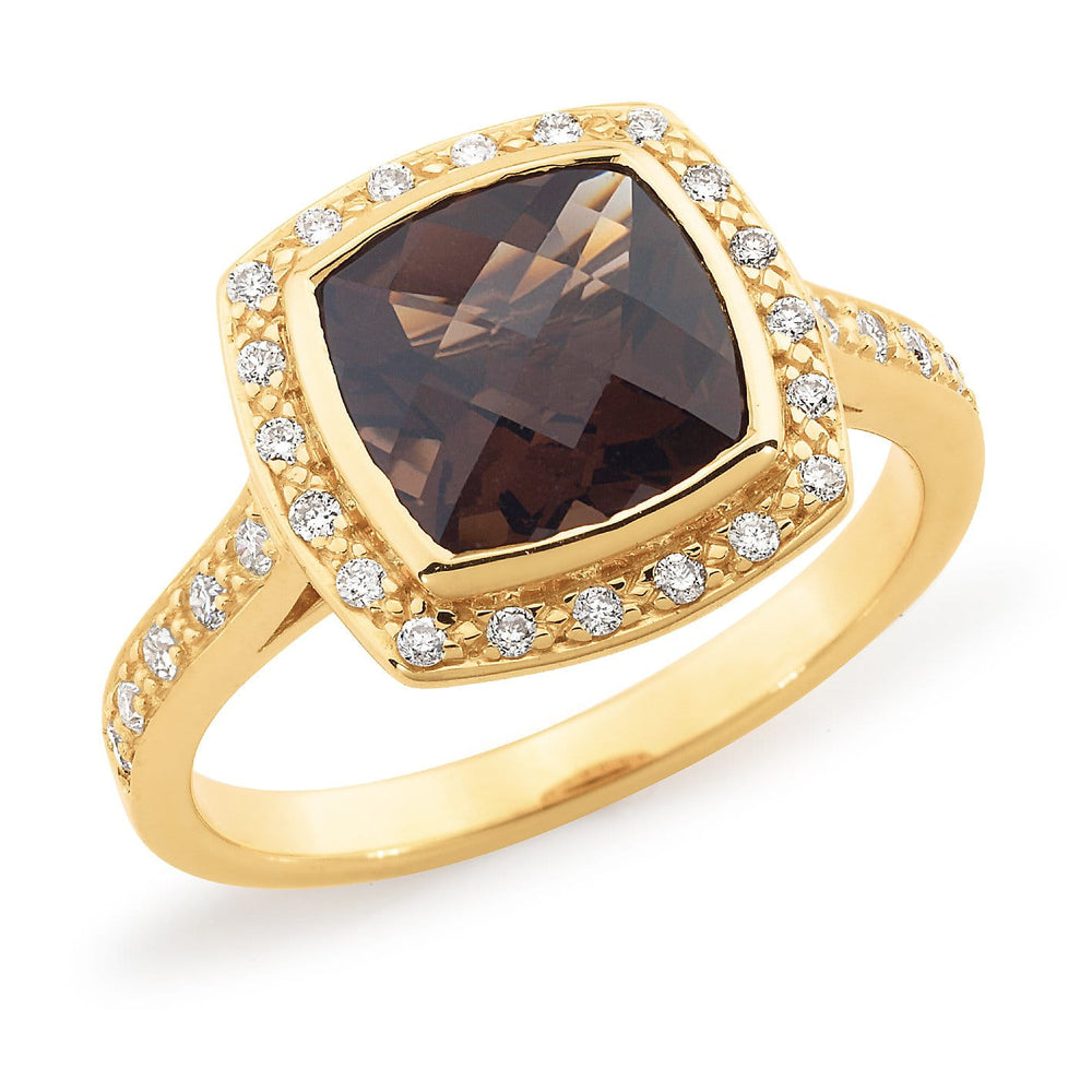Cushion Cut Smokey Quartz & Diamond Dress Ring