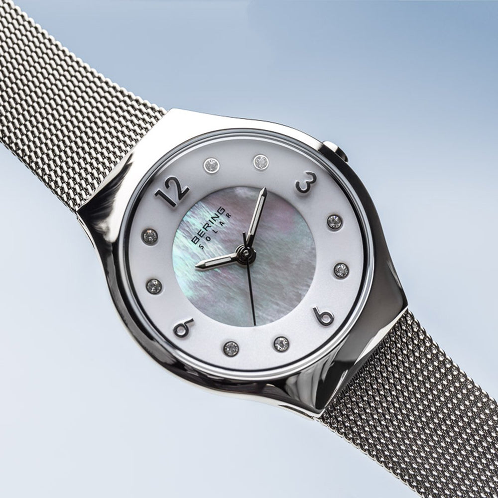 Load image into Gallery viewer, Bering Solar Polished Silver Mesh Watch