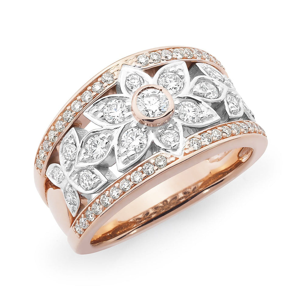 Load image into Gallery viewer, Flower Motif Diamond Dress Ring