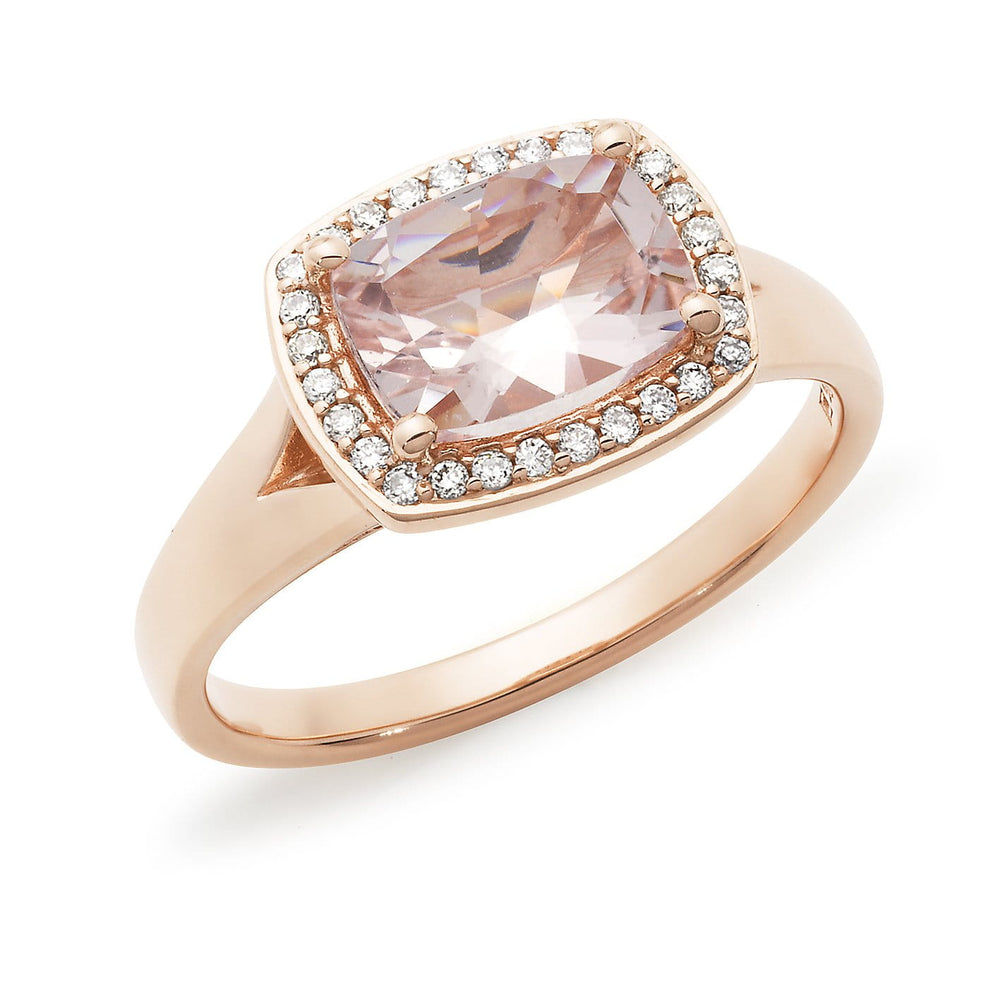 Rectangular Cushion Morganite and Diamond Dress Ring