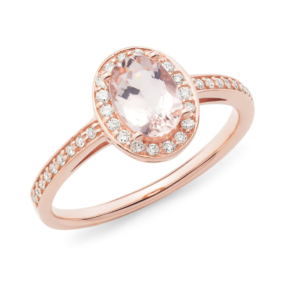 Load image into Gallery viewer, Oval Morganite and Diamond Dress Ring