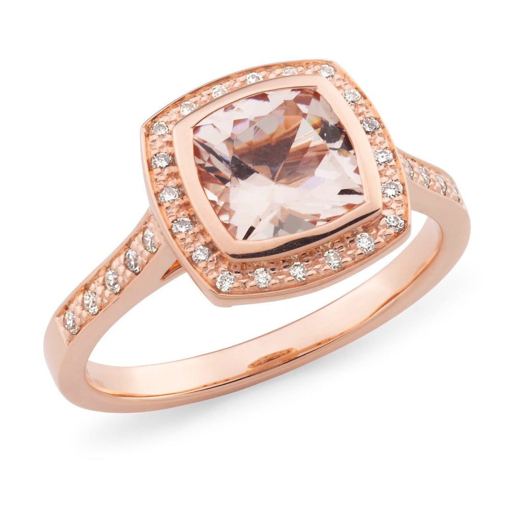 Load image into Gallery viewer, Morganite Cushion and Diamond Dress Ring