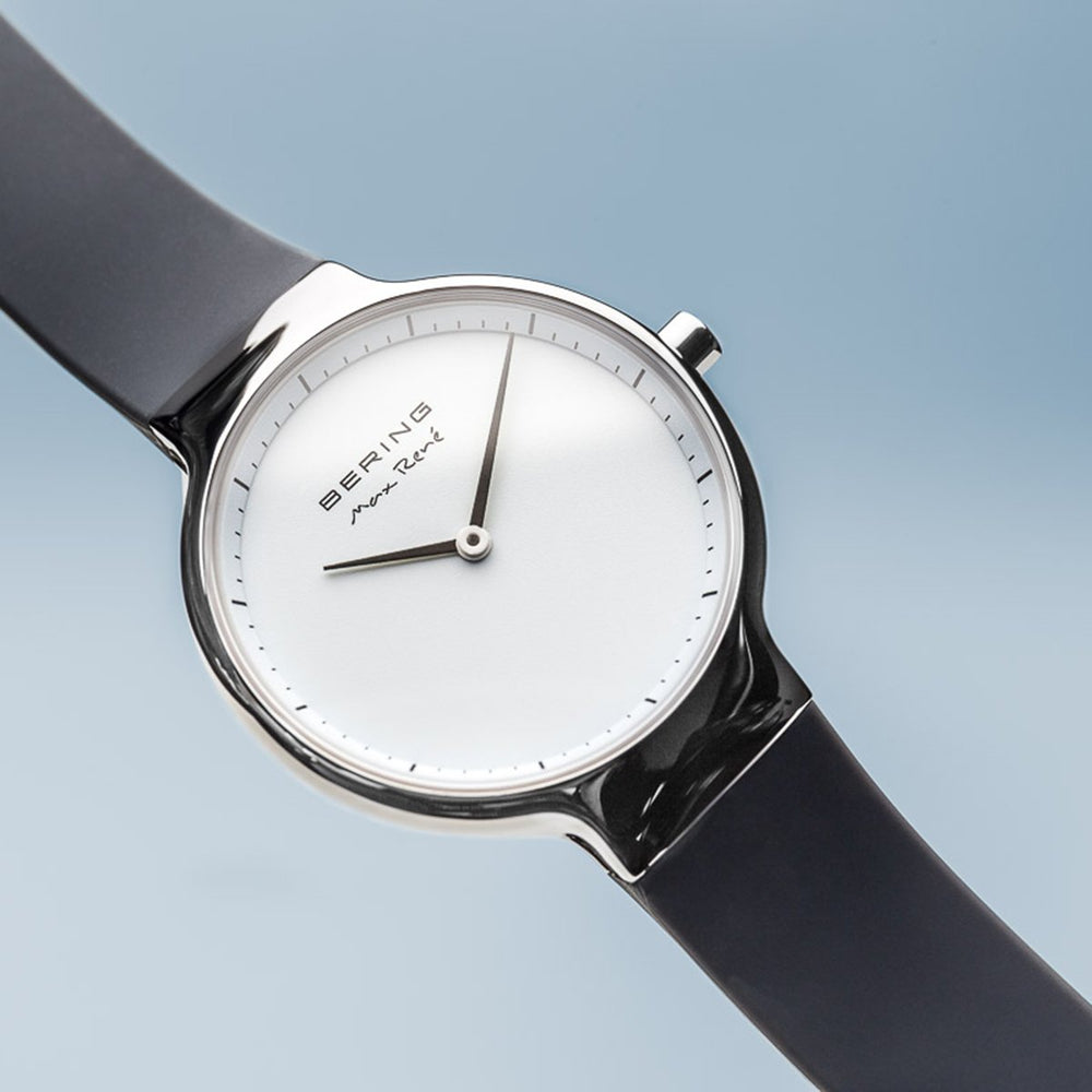 Bering Max René Polished Silver Silicone Watch