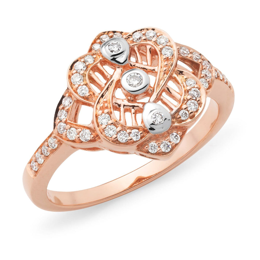 Diamond and Rose Gold Dress Ring