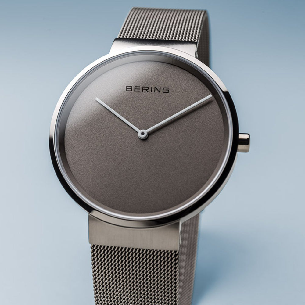Bering Classic  Brushed Silver 39mm Grey Mesh Watch