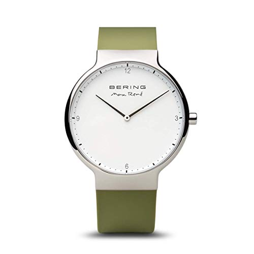Load image into Gallery viewer, Bering Max René Polished Silver Green Watch