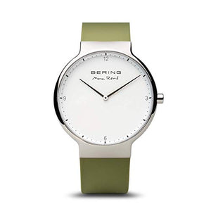 Bering Max René Polished Silver Green Watch