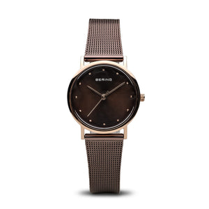 Bering Classic Polished Rose Gold Brown Mesh Watch