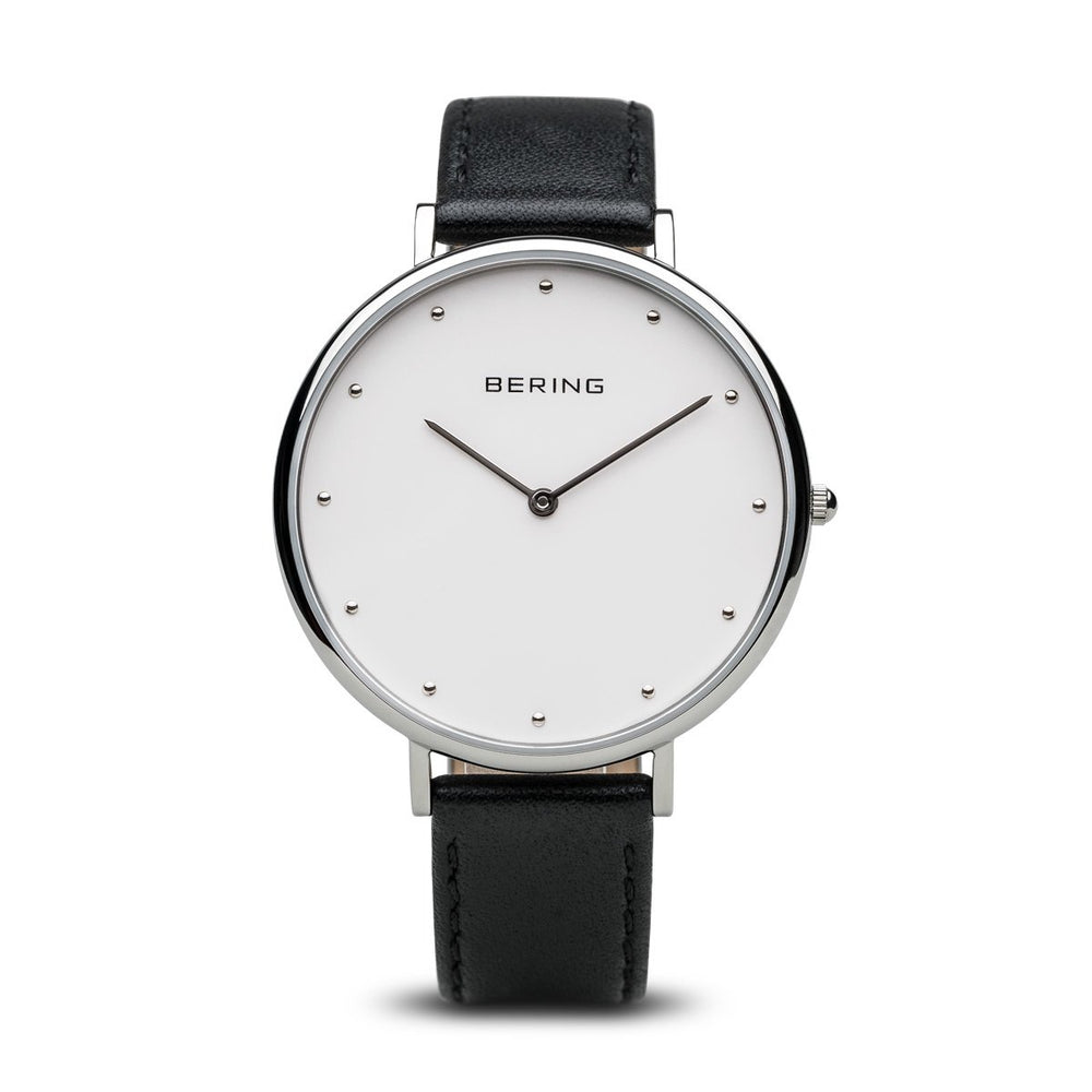 Bering Classic Polished Silver 39mm Black Watch