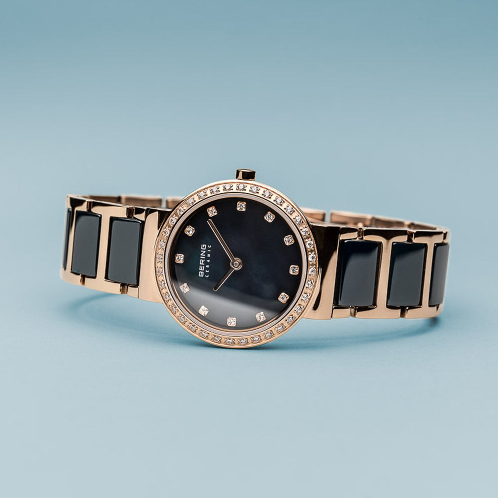 Load image into Gallery viewer, Bering Ceramic Polished Rose Gold Black Watch
