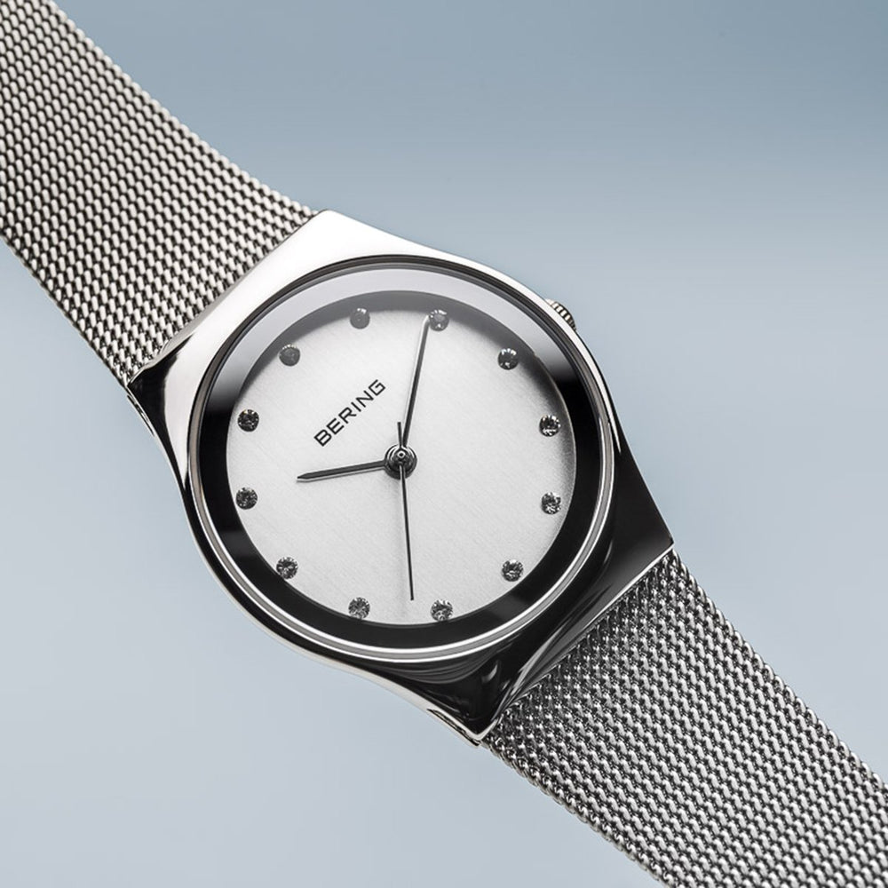 Bering Classic Polished Silver Milanese Mesh Watch
