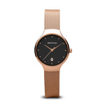 Bering Classic Polished Rose Gold Mesh Watch