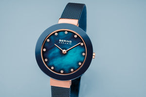 Bering Ceramic Polished Rose Gold Blue Pearl Watch