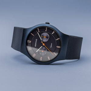 Bering Titanium Brushed Blue Mesh Watch