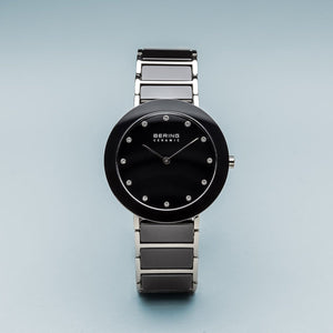 Bering Ceramic Polished Silver Ceramic Bracelet Watch