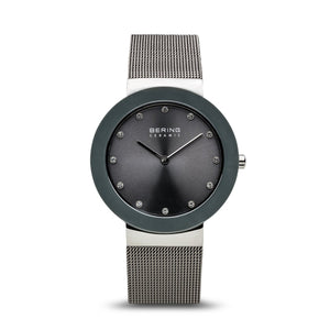 Bering Ceramic Polished Silver Grey Watch