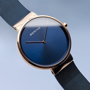 Bering Classic Polished Rose Gold 39mm Blue Mesh Watch