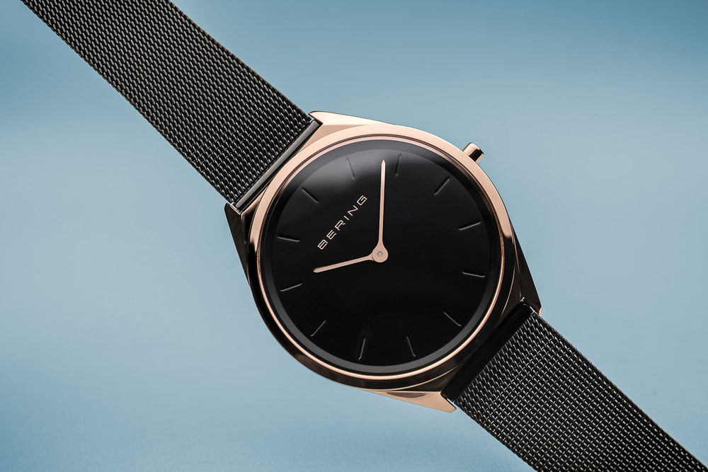 Load image into Gallery viewer, Bering Ultra Slim Polished Rose Gold Black Mesh Watch