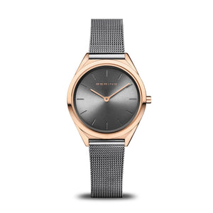 Load image into Gallery viewer, Bering Ultra Slim Polished Rose Gold Grey Mesh Watch
